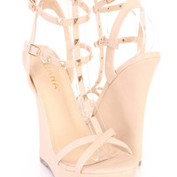 Nude T Strap Studded Open Toe Sandal Wedges Faux Leather