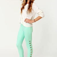 Peripheral Perfection Mint Green Cutout Cropped Pants