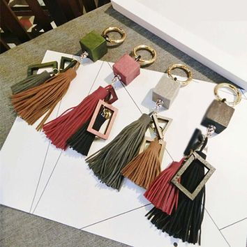 Fashion casual wooden block PU leather tassels women keychain bag pendant alloy car key chain ring holder retro jewelry