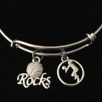 Volleyball Rocks Silver Expandable Charm Bracelet Adjustable Wire Bangle Sports Team Gift