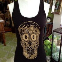 Fleurty Girl - Everything New Orleans - Black and Gold Nola Voodoo Skull Tank - Shirts