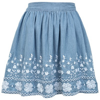Embroidered Skater Skirt