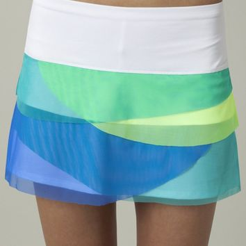 Lucky In Love Women's Tennis Fiji Island Collection- Color Block Mesh Scallop Skirt : LIL- CB14 l CourtandKelly.com