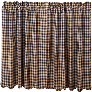 Navy Check Tier Curtains 36""
