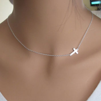 SALE 40% OFF Sideways Cross in Sterling Silver Necklace inspired by Taylor Jacobson Vanessa Hudgens Miley Cyrus