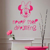 Wall Decals Mouse Quote Never Stop Dreaming Cartoon Character Home Vinyl Decal Sticker Kids Nursery Baby Room Decor kk259
