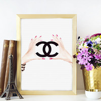 Coco Chanel Logo Poster,Coco Chanel Sign,Coco Chanel,Coco Chanel Fashion Print,Fashion Art,Home Decor,Wall Decor