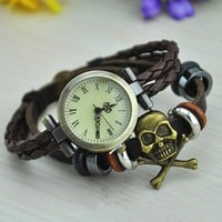 Vintage Style Leather Belt Watch with Skull Head
