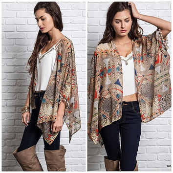 Tribal Pom Pom Kimono Cover Up Cardigan, Sheer, Light Weight, Vintage Stlye