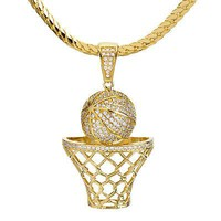 Jewelry Kay style Men's Gold Plated Basketball Rim Pendant Miami Cuban Chain Necklace BCH 1050 G