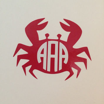 Crab Monogram Decal - For Your Car, Laptop, Anything!
