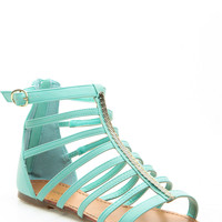 Mint Faux Nubuck Caged Gold Accent Sandals