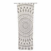 "Amanda Lane ""Bohemian Tribal Mandala"" Black Beige Digital Decorative Sheer Curtain"