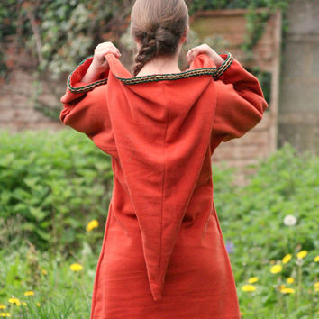 Festival Elf Dress - Medieval Womens Tunic with Pixie Pointy Hoodie in Red - Game of Thrones Costume - Link hoodie - PSY hoodie  elven dress