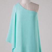 Solid Mint One Shouldered Dress
