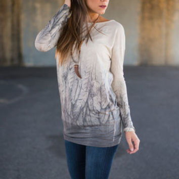 Falling Feathers Top, Gray