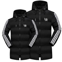 Adidas Trending Winter Warm Men Lovers Long Sleeve Cardigan Jacket Cotton Coat Middle Long Section  Windbreaker Hoodie Black