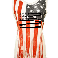 American gun Flag shirt july 4th Women's Shredded Us Flag July 4th Tanktop