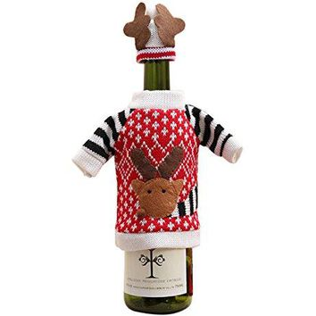 Hilltop To Cloud Christmas Decoration Reindeer Elk Wine Bottle Cover Bag Cover Sweater Decor Holiday Knit Sweater