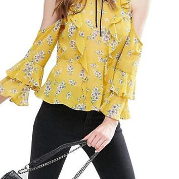 Autumn Women Fashion Vintage Floral Print Blouse Sexy Cold Shoulder Wraps Office Lady Slim Frill Sleeve Blouse
