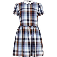 River Island Womens Blue check contrast collar skater dress