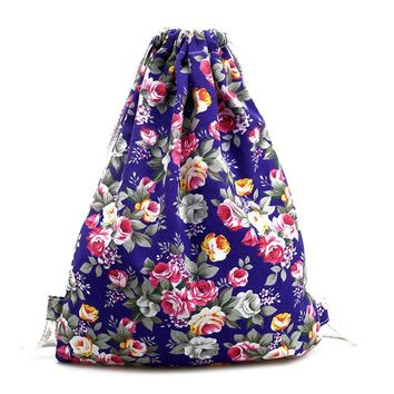 canvas Floral backpack women Fashion Drawstring Backpack Beach Casual Bags Small luxury brand backpack school bag 2017 White