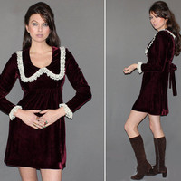 Vintage 60s 70s VELVET MINI DRESS / Burgundy Crushed Velvet, Cream Lace / Mod, Groovy Holiday Dress / Winter Party Dress / Small
