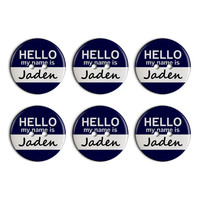 Jaden Hello My Name Is Plastic Resin Button Set of 6