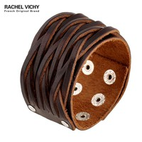 Simple Style Fashion Bracelets Male Vintage Punk Style Wide Genuine Leather Cuff Bracelet Sporty Man Jewelry Wrist Brown P01631