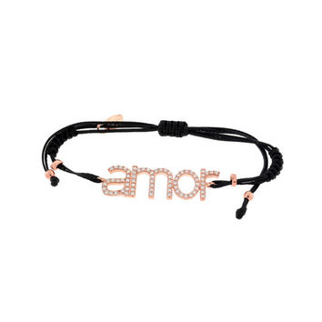 Love AMOR Scripted Word Cubic Zirconia Accented Adjustable Cord Bracelet