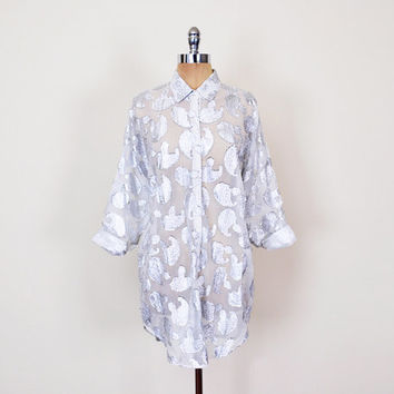 Metallic Shirt Blouse Top Metallic Silver Shirt Sheer Shirt Paisley Shirt Slouchy Shirt 80s Oversize Shirt 80s Shirt Tunic Women S M L XL