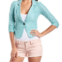 Turquoise Lace Ruched-Sleeve Blazer