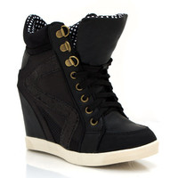 faux-leather-wedge-sneakers BLACK CHESTNUT - GoJane.com