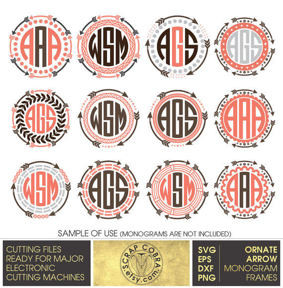 Deer bathroom decor - Ornate Arrow Monogram Frames Svg Eps From Scrapcobra On