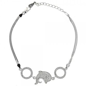Sterling Silver 03.183.0032 Fancy Bracelet, Dolphin Design, with White Cubic Zirconia, Polished Finish, Rhodium Tone