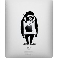 Banksy Monkey -- iPad Decal iPad Sticker Art Vinyl Decal for Macbook Pro / Macbook Air / iPad 1 / iPad 2 / iPad 3/iPad 4/ iPad mini