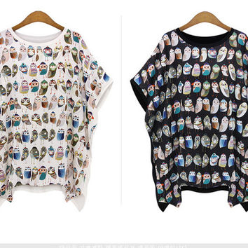 One Piece Colorful Owl Summer Women Shirts Cotton   Sleeve Sports Tops Blouse = 5988203201