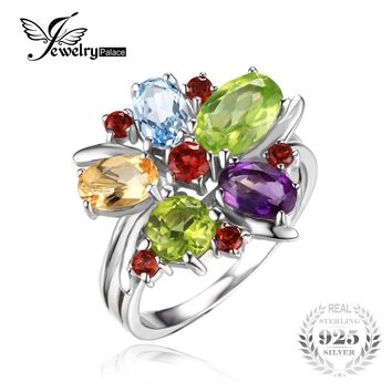 JewelryPalace Flower 3.1ct Natural Amethyst Garnet Peridot Citrine Blue Topaz Cocktail Ring 925 Sterling Silver Fashion Jewelry