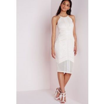 Lace Mesh Panel Halter Midi Dress White/Nude - Dresses - Midi Dresses - Missguided