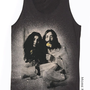John Lennon & Yoko Ono Love Charcoal Black Tank Top Singlet Vest Tunic Sleeveless Women Shirt Tee Punk Rock Pop Movie Rock T-Shirt Size M-L