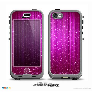 The Abstract Pink Neon Rain Curtain Skin for the iPhone 5c nüüd LifeProof Case