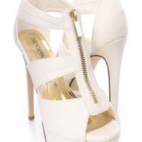 White Strappy Zipper Front Platform Heels Faux Leather