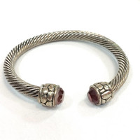 Silver Cable Cuff Bangle Bracelet, Red Rhinestones, Geometric Serpentine Ends, 1990s Vintage Etruscan Revival Fashion Jewelry