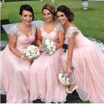 2016 A-Line Beads Bridesmaid Dresses Cap Sleeve Vestido Chiffon Pink Bridal Wedding Party Dress Gowns Vestido De Festa