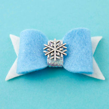 Queen Elsa Hair Bow - Frozen Felt Hair Bow - Disney Inspired
