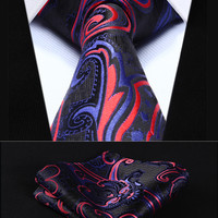 "Party Wedding Classic Pocket Square Tie TP924R8S Red Purple Paisley 3.4"" Silk Woven Men Tie Necktie Handkerchief Set"