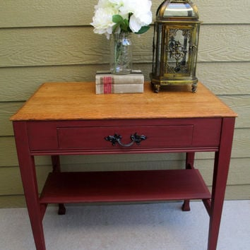 Antique Vintage Side Lamp End Table with Storage Drawer and Shelf