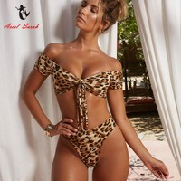Ariel Sarah Leopard Swimwear Swimsuit Bathing Suit Women Sexy Bikini Monokini Push Up Swimsuit Maillot De Bain Femme 2018