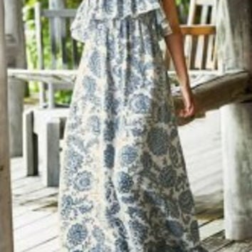 Casual Strapless Flounce Patterned Maxi Dress For Women