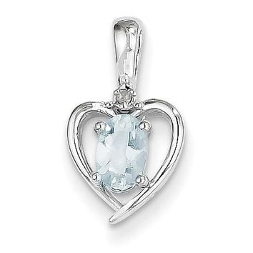 14k White Gold Genuine Oval Aquamarine and Diamond Heart Pendant